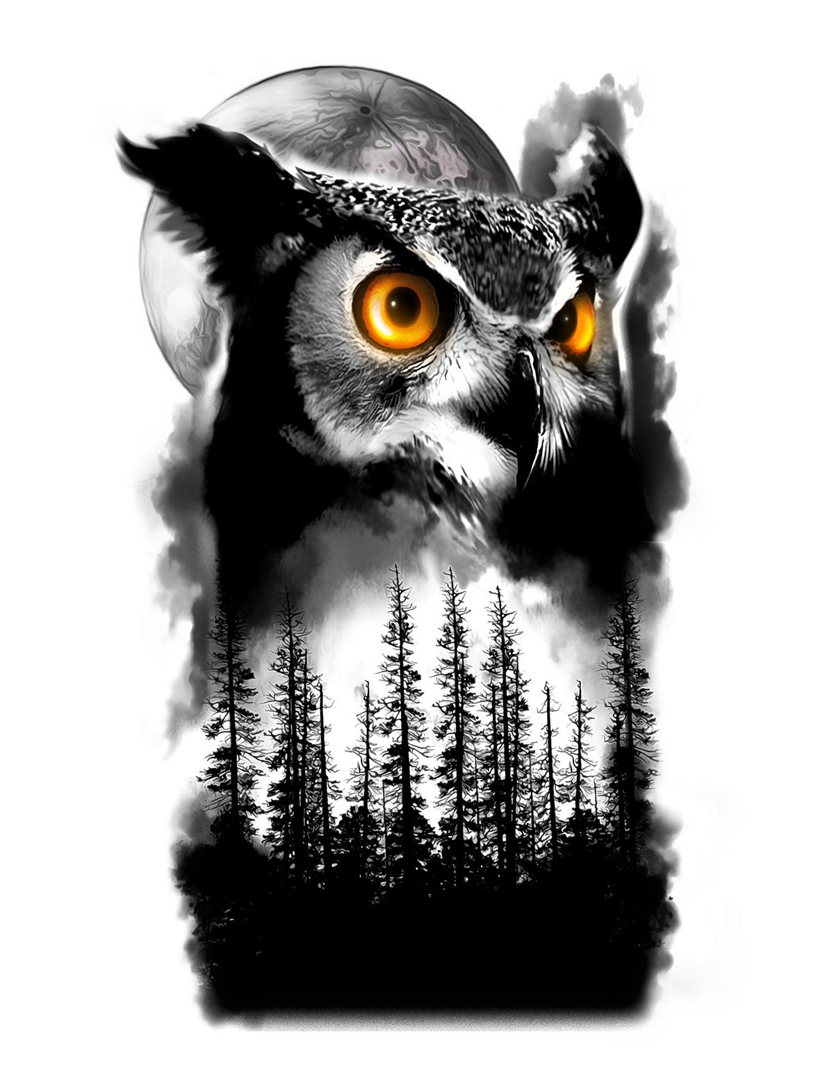 Owl And Tree Half Sleeve Tattoo Design On Behance