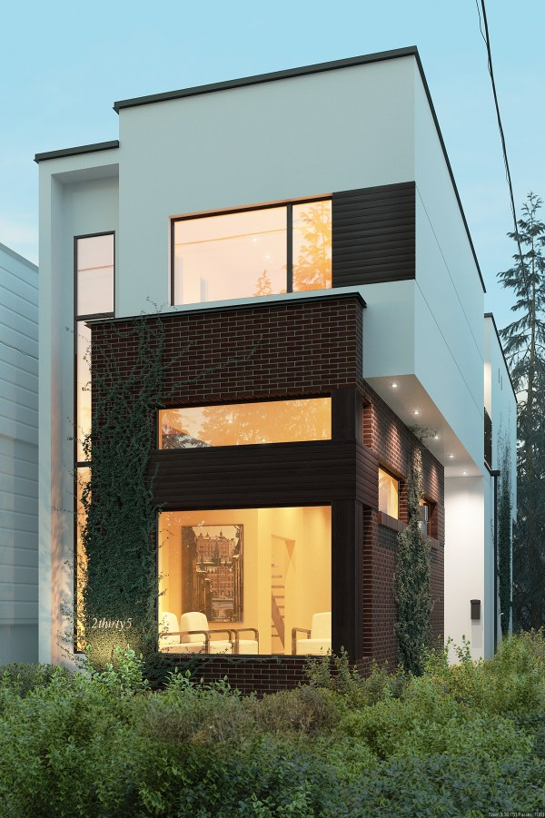 Render Of Linear House Green Dot Architects