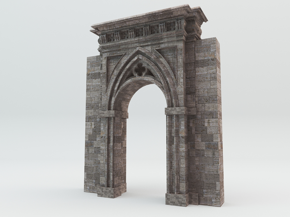 Free Gothic Gate 3d Download Max Obj File On Behance