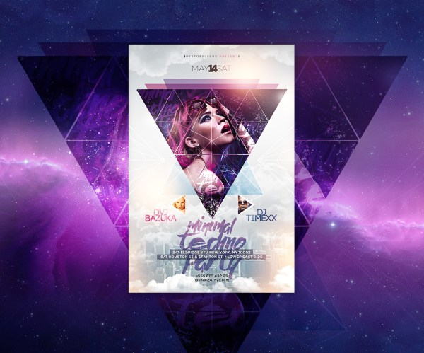 Minimal Techno Party Free Psd Flyer Template Behance