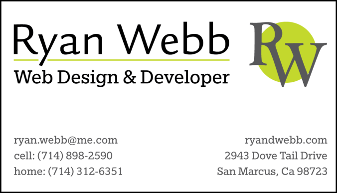 This is the business card I designed for the assignment. All of the varying elements shown were a required minium for the design along with using 3 colors in the scheme.