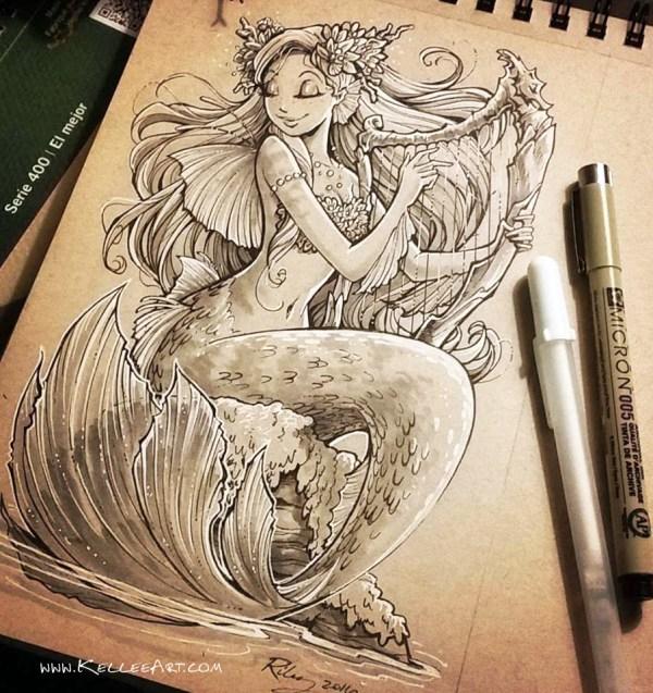 Traditional Mermaid Drawings Behance