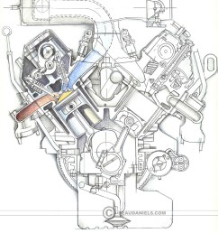 sketch style cross section of a generic car engine [ 946 x 1200 Pixel ]
