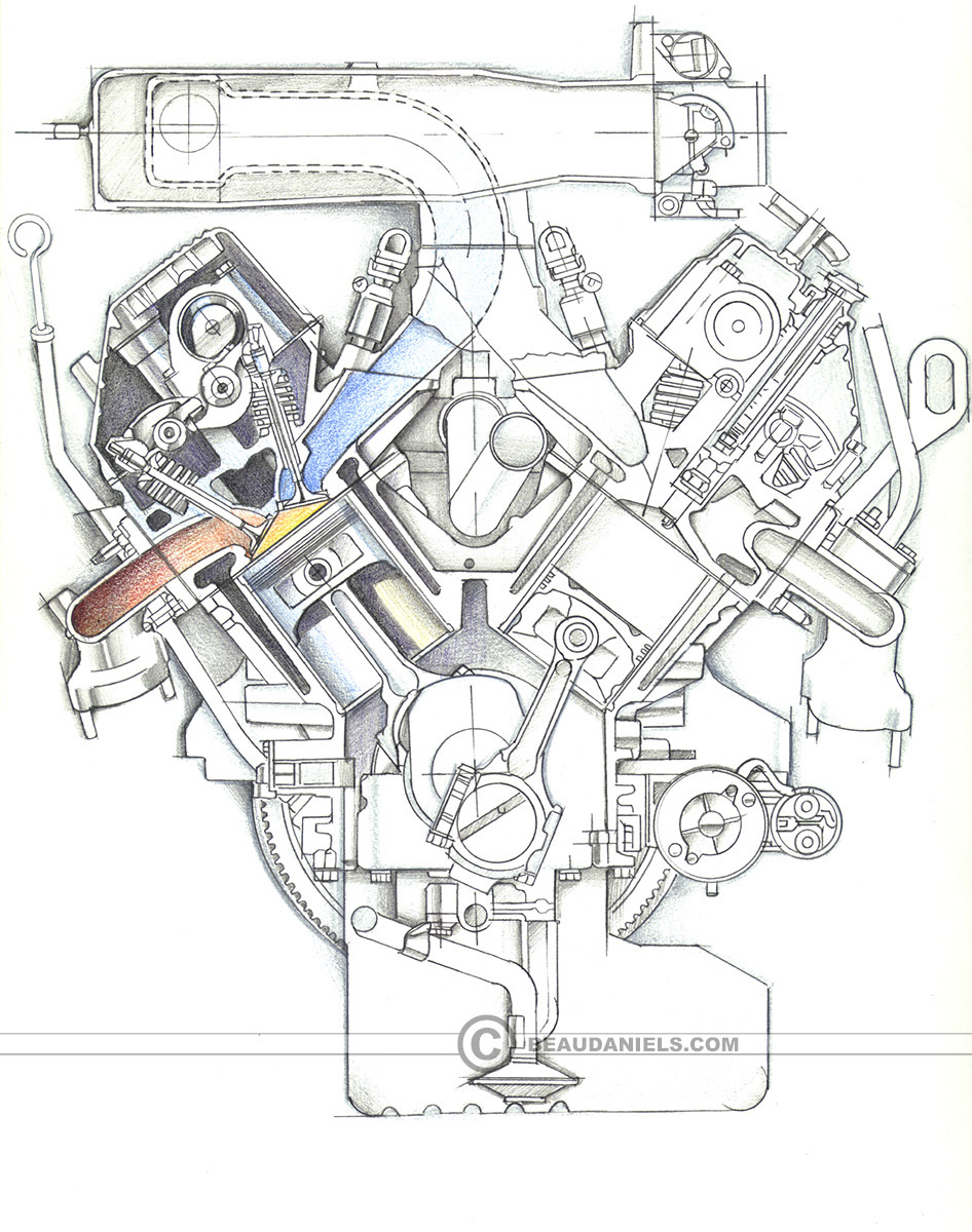 hight resolution of sketch style cross section of a generic car engine