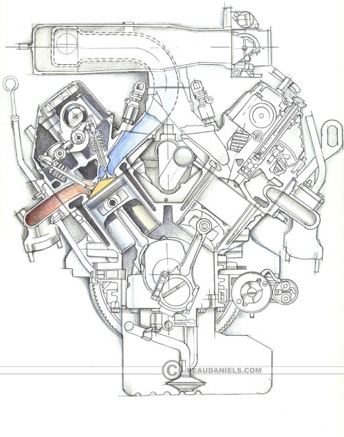 small resolution of sketch style cross section of a generic car engine