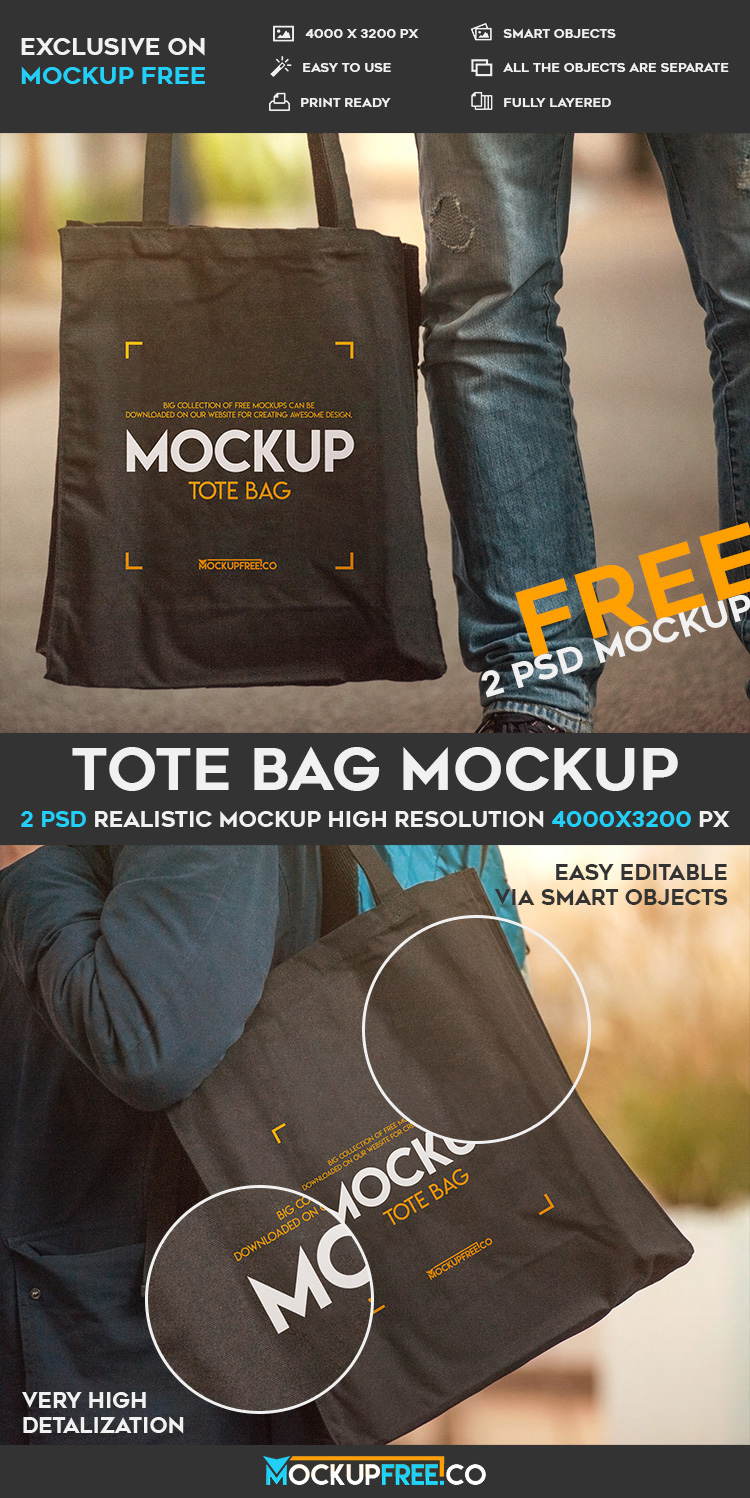 Stunning visual of free tote bag psd mockup, place your own design with few clicks and save your precious time. Tote Bag Free Psd Mockup On Behance