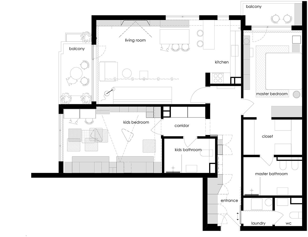 Apartment in Elemag St. / interior&furniture design on Behance