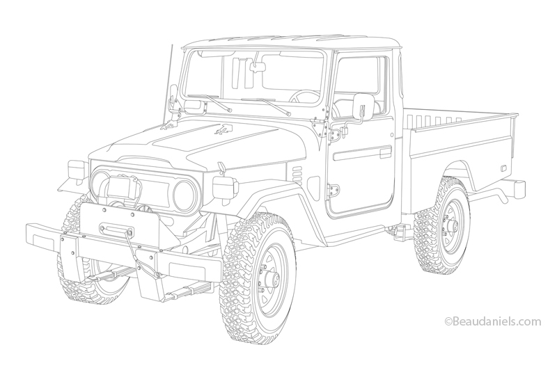 Toyota Landcruiser Heritage illustrations on Behance