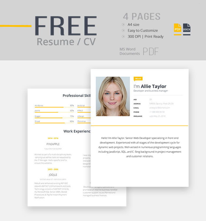 resume templates are probably the single most useful tool when trying to write your resume. Free Resume Template Word Pdf On Behance