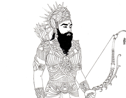 Mahabharata Characters Drawings For Colouring Book On