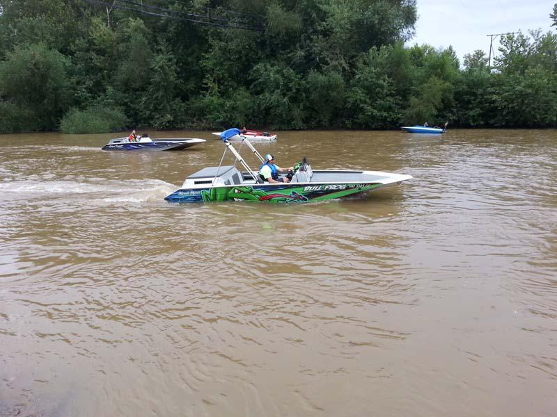 bull frog boat on lake