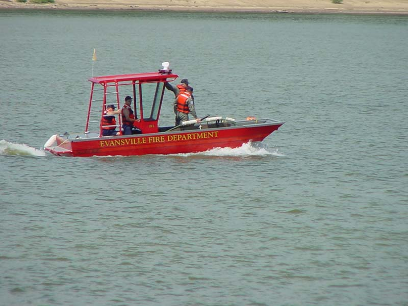 Evansville fire department boat on a lake
