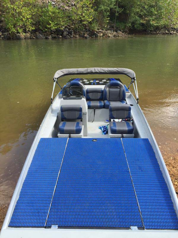 overhead view of blue boat