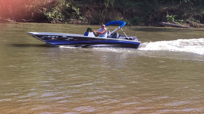 blue boat on a lake