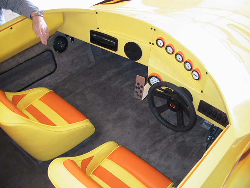 cockpit of yellow boat