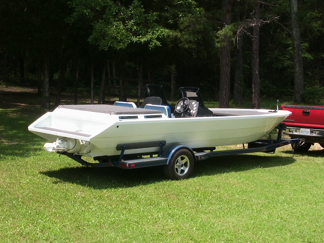 white boat on trailer