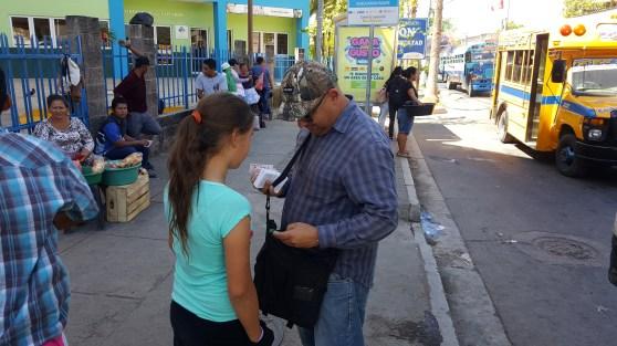 Evangelising at the bus stop