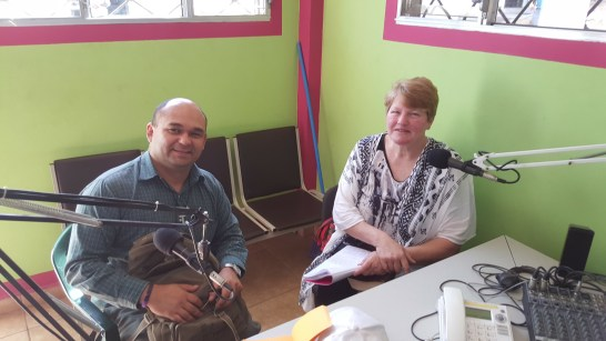 Francisco and Sheryl at the radio station in San Marcos Ocotopeque Honduras