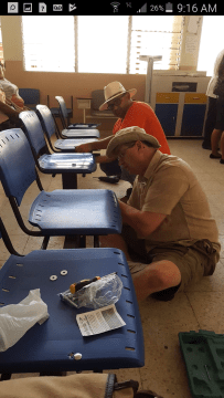 Repairing chairs at the La Libertad Hospital
