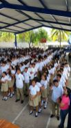 Seven hundred students praying the Salvation prayer in La Libertad El Salvador