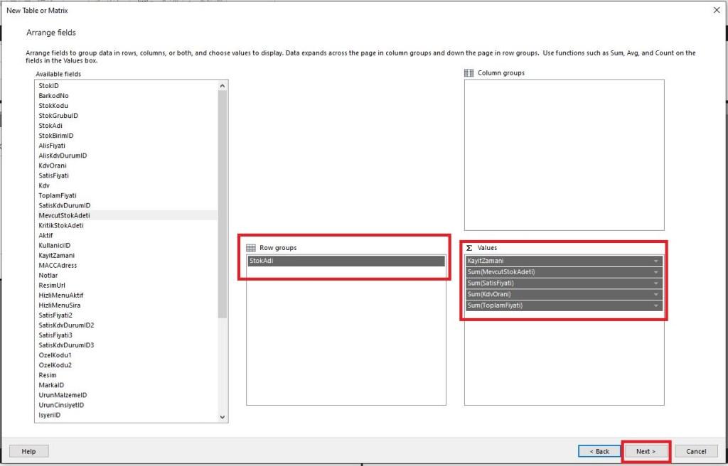 power-bi-report-builder-matrix-table-design-step
