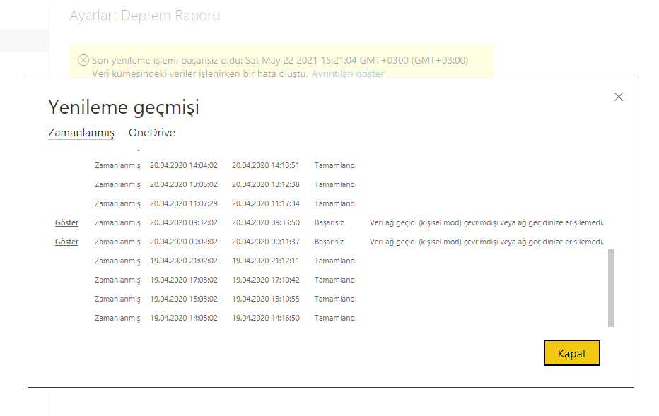 microsoft power bi settings admin refresh data history detail source settings kullanıcı ve kullanici gruplari