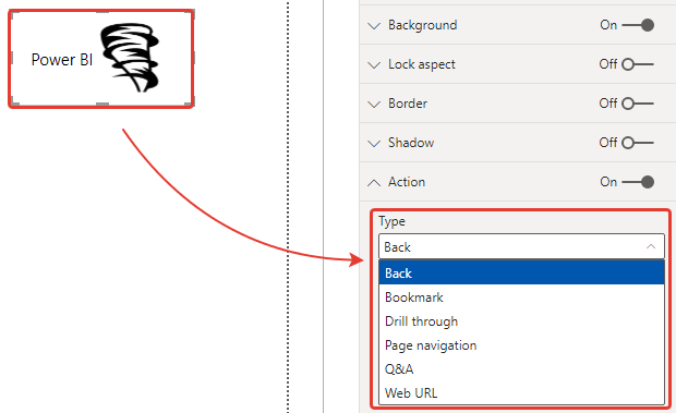 microsoft power bi new formatting options for new button create actions
