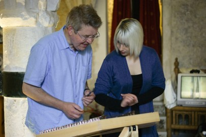 Julia demonstrates her dulcimer at our exhibition