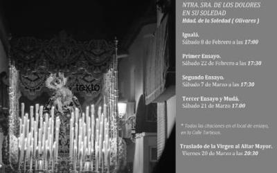 CALENDARIO DE ENSAYOS 2020 DE NTRA. SRA. DE LOS DOLORES