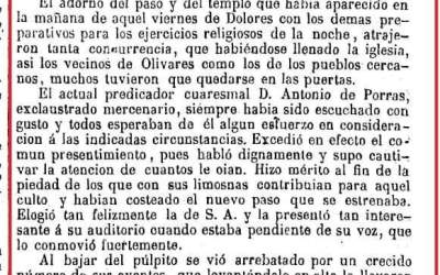 UN ARTÍCULO DE UN PERIÓDICO DE MADRID SE HACE ECO DEL  ESTRENO DEL PASO DE LA STMA. VIRGEN DE LOS DOLORES EN 1849