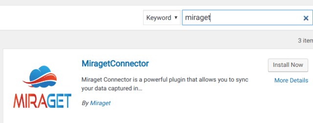 MiragetConnector wordpress plugin