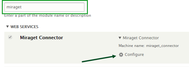 MiragetConnector Drupal plugin