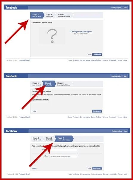 Nessas três telas você deverá escolher a foto, importar contatos e preencher com informações básicas