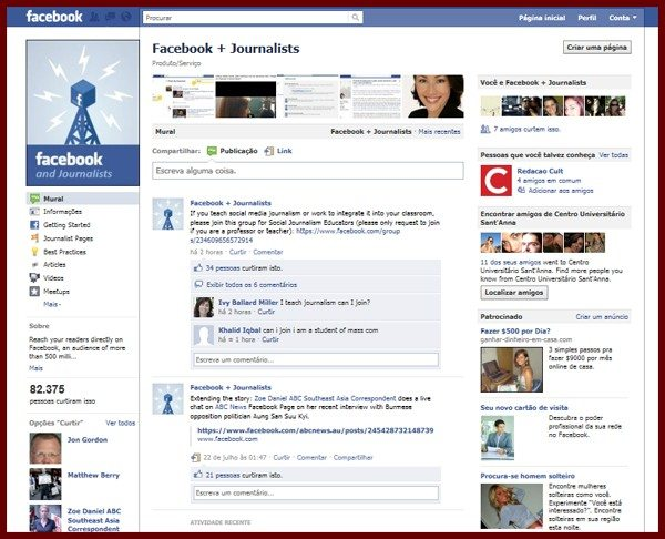 Facebook and Journalists, a página lançada em abril de 2011 conta com dicas e ferramentas para jornalistas