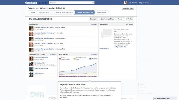 Novo painel administrativo para Fan Pages