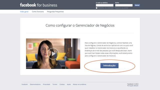 Criando conta no Facebook Business Manager