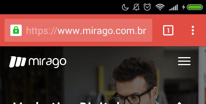 Barra de Endereço do Chrome vermelha.