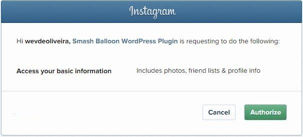 Autorização do Feed do Instagram