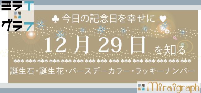 12月29日の誕生石誕生花バースデーカラーラッキーナンバー