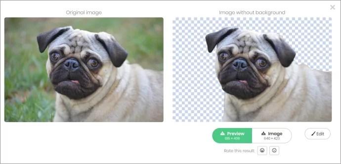 Remove Image Background画像変換犬の場合