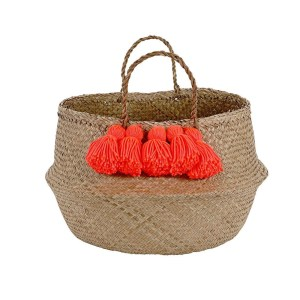 MM Neon Coral Tassel Basket
