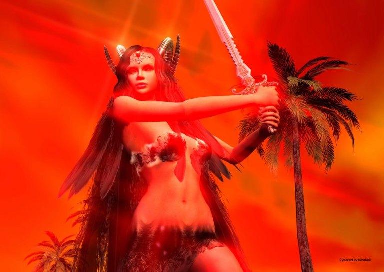 Red Goddess - Cyberart by Mirakali