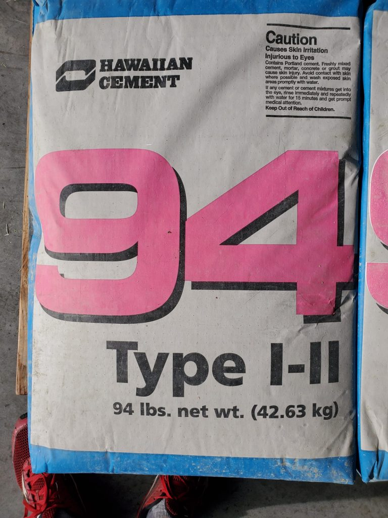 Hawaiian Cement comes in a 94 lb bag. Hawaii 94 Type I-II Cement will help secure all your fence posts for sale
