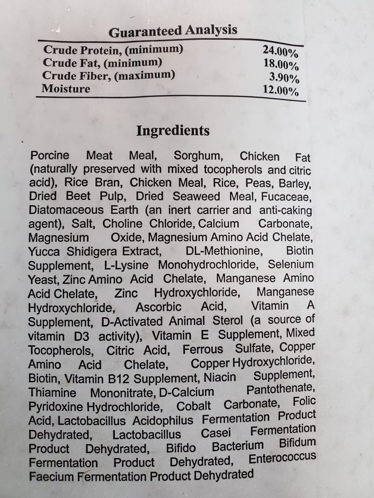 NEW, Total Feeds, Total Canine dog food for sale. Ingredient listing is on back of Bag. First five ingredients are; Porcine Meat Meal, Sorghum, Chicken Fat, Rice Bran and Chicken Meal.