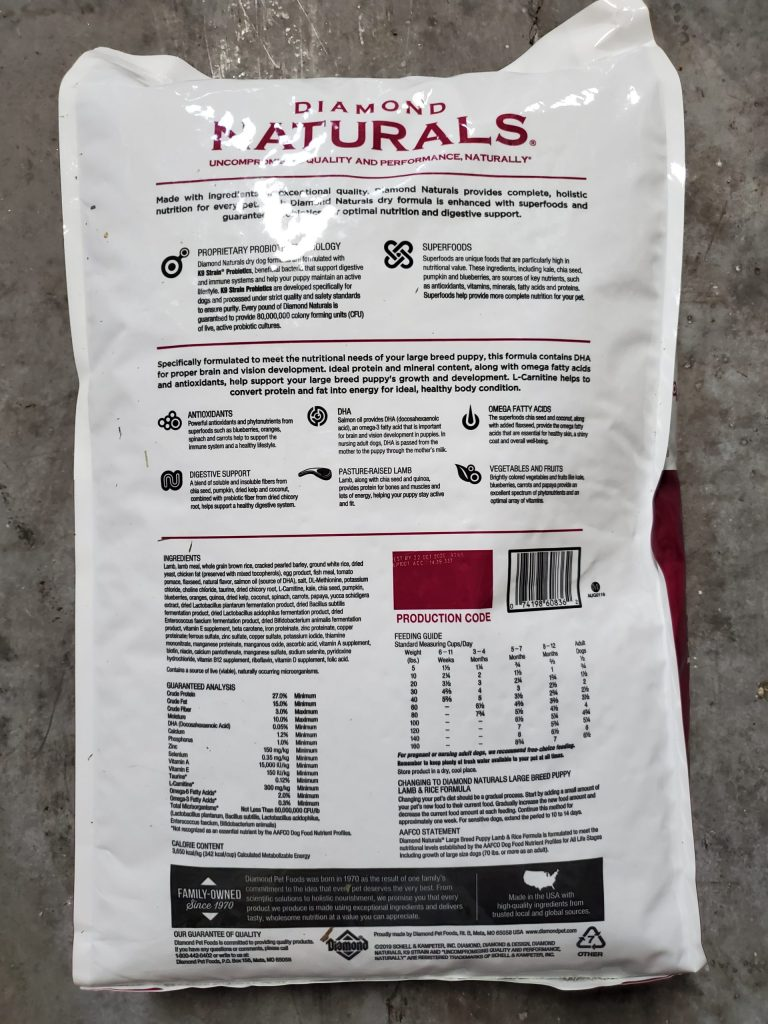 Diamond naturals large breed puppy food back of bag has all nutritional facts.