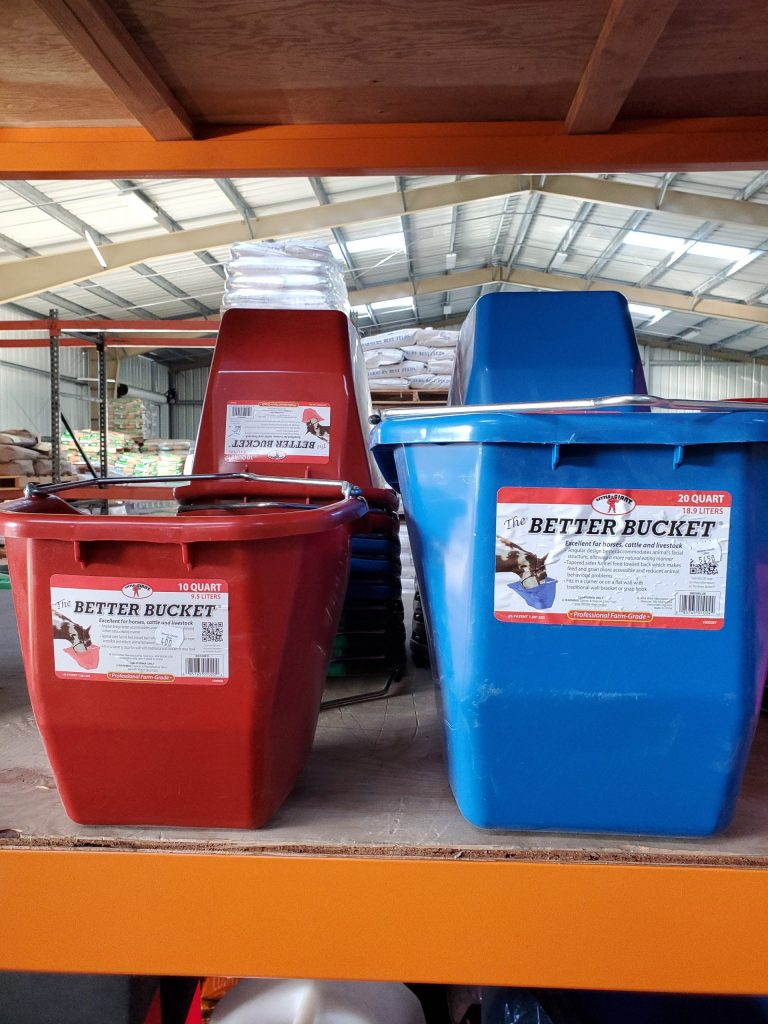 Better Buckets are a square and more ergonomically designed bucked for live stock feeding ranging in sizes from 10 quarts to 20 quarts. on sale now