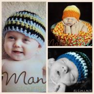 Babies modeling crochet hats