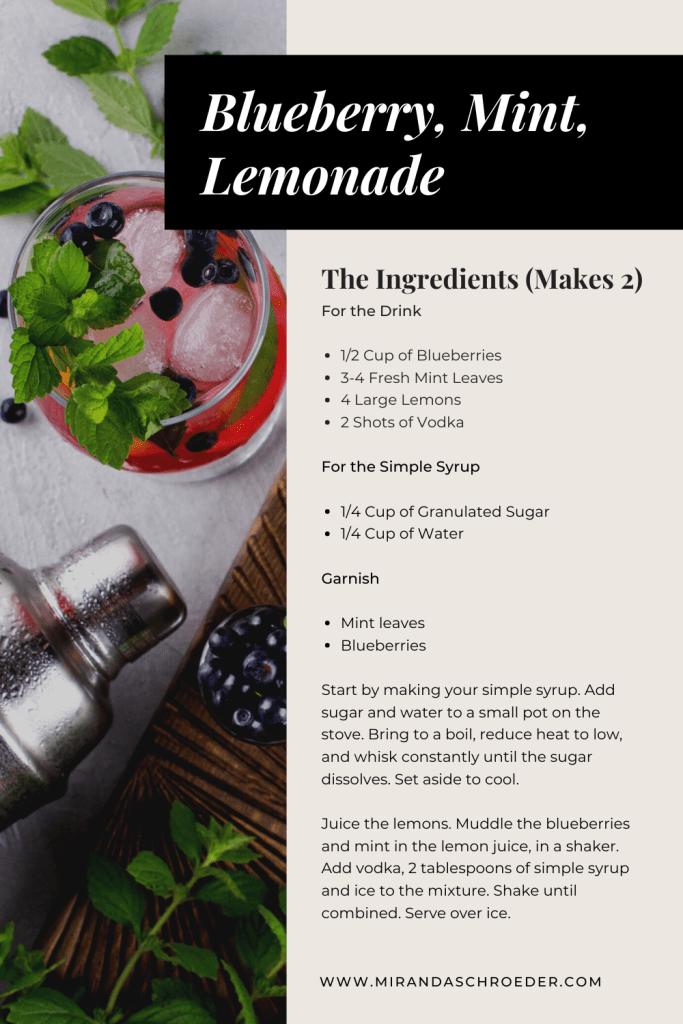 Quarantine Cocktails | Vodka, Blueberry, Mint Lemonade  www.mirandaschroeder.com