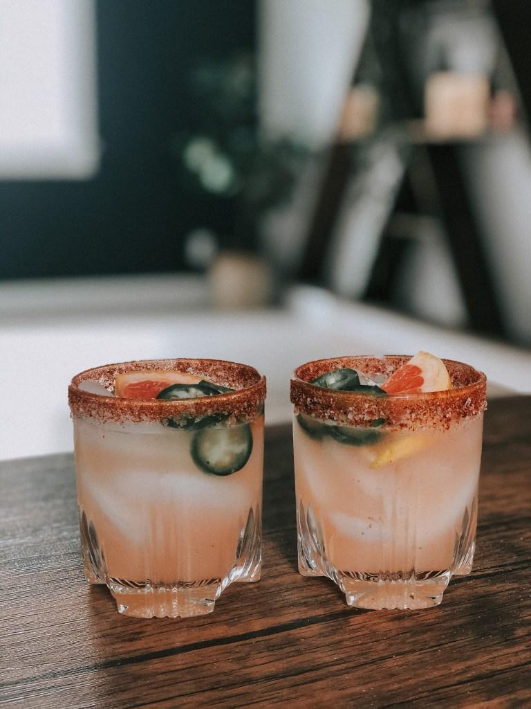 Quarantine Cocktails | Spicy, Grapefruit Margarita  www.mirandaschroeder.com