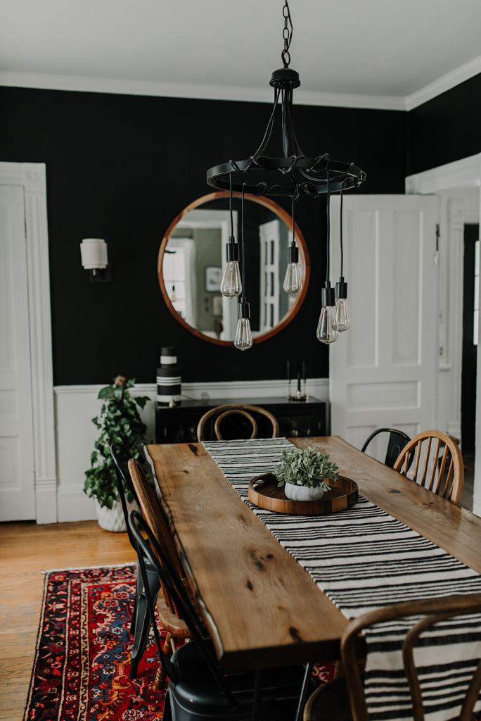 An Eclectic Dining Room with an Unconventional Wall Color | Miranda Schroeder Blog  www.mirandaschroeder.com  Dining Room, Black Walls, Mismatch Chairs, Vintage Style, Style it Dark, Dining Room Decor, Inspiration